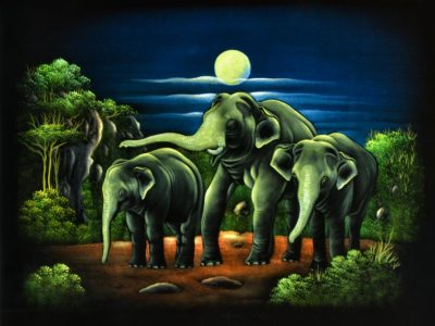Sri Lankan Wild Elephants In The Moon Light Velvet Wall Hanging Wall Art