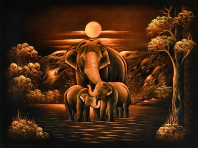 A Handsome Elephant father and his sons Velvet Wall Art