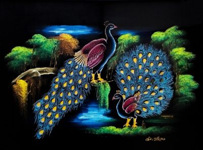 Enchanted Peacocks Velvet Wall Art