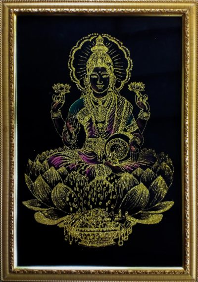 Goddess Lakshmi Velvet Fabric Wall Hanging Wall Art