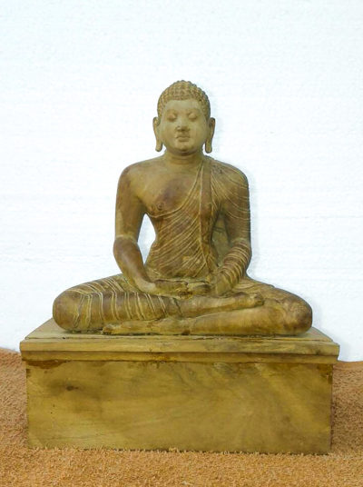 Sitting Meditating Buddha Wood Carved