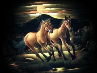 Running Wild Brown Horses Galloping in the Moonlight
