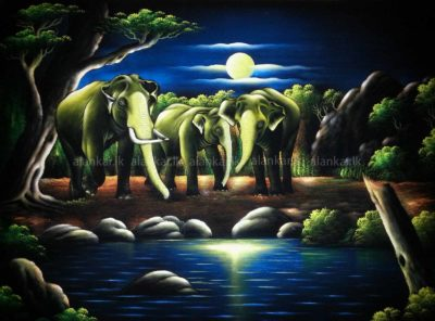 Fascinating Wildlife And Elephant Stand Under A Full Moon