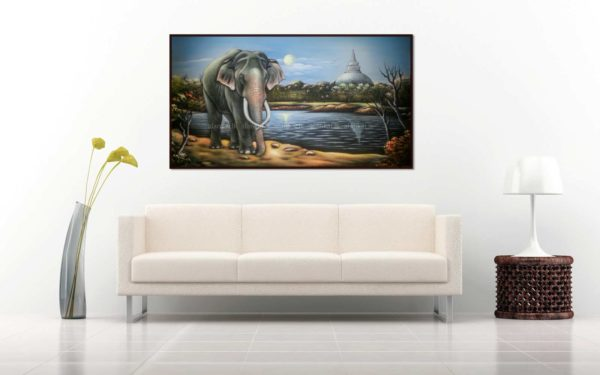 Asian wild elephant beside a lake in a village painted in a hard board
