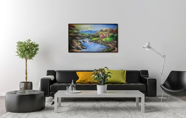 Village On River Bank WallHanging Hardboard Wall Art