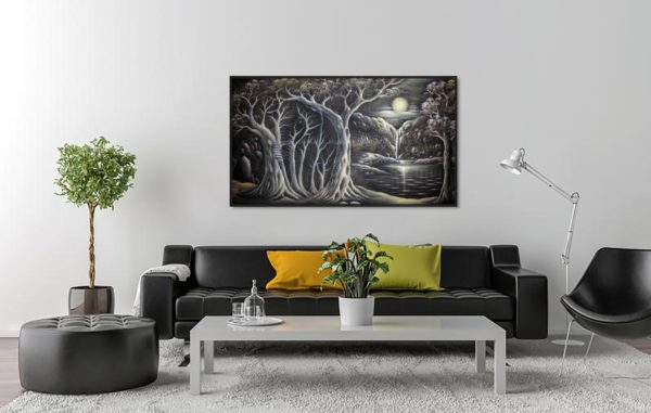 Waterfall In The Moonlight Hardboard Wall hanging Art