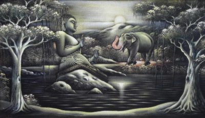 Elephant Worshiping the Buddha Hardboard Wall Art