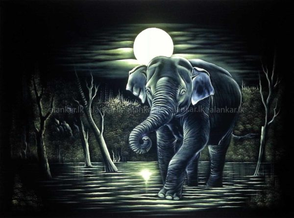 Bull Elephant Stand unde a full moon Velvet Fabric Wall Hanging Wall Art