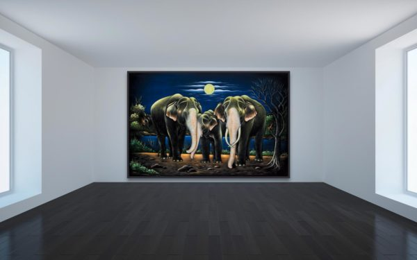 Beloved Elephant Family velvet Wall Hanging wall Art