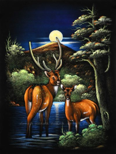 Buck Deer Under the Moonlight Wall Art