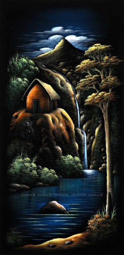 Cabin by a Lake waterfall Hand painting