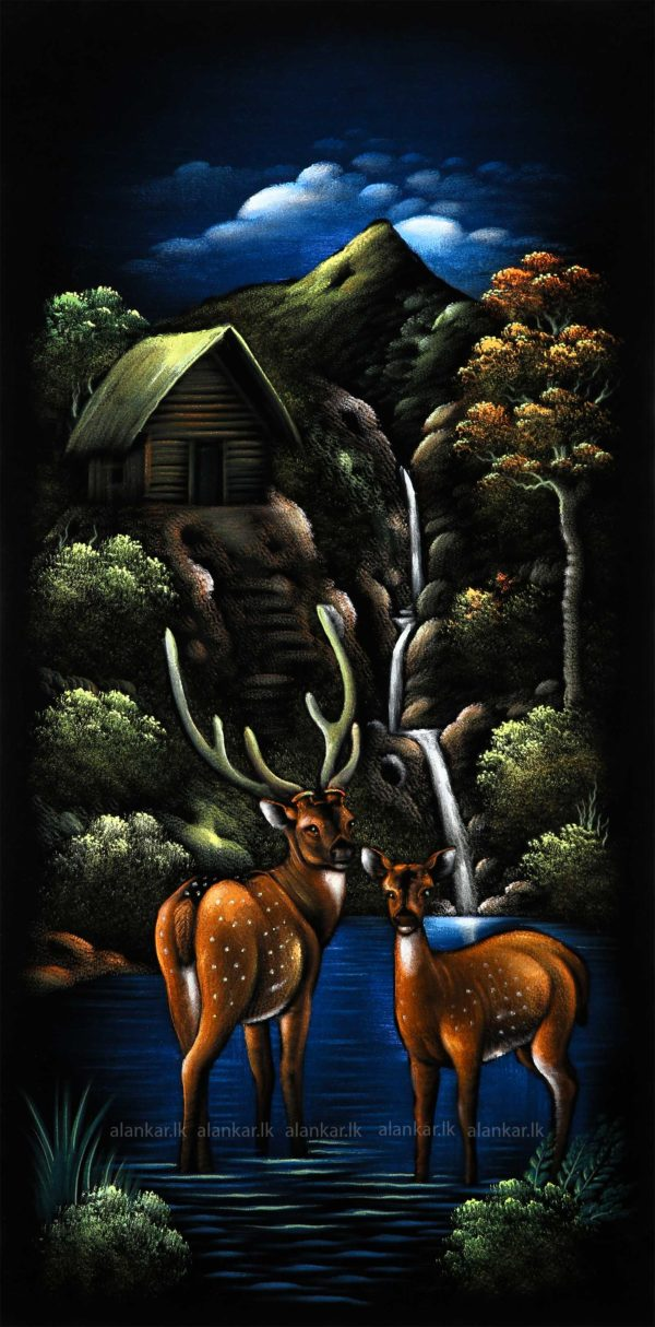 Deer By The Lake Hand Painting Wall Art