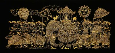 Traditional Kandy Perahera On Velvet Gold