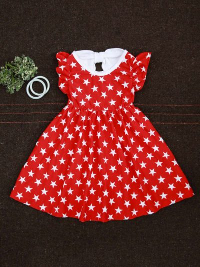 Stars Fabric with Back Bow Kids Fringed Sleeve Summer outfit Dress