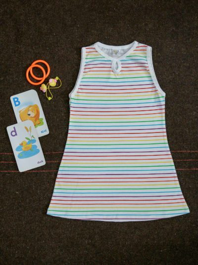 Rainbow Color Lines Kids Sleeveless Summer Outfit