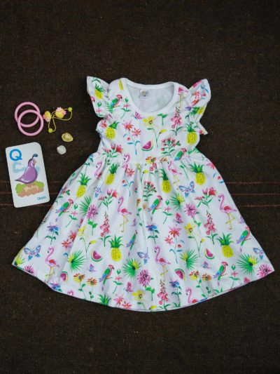 Flamingo Fabric Gathered Frill Sleeve Summer outfit Dress