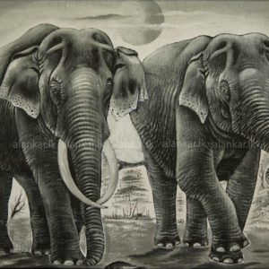 Asian Elephants Black & White Hand Painted Canvas Art